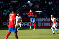 CARSON, CA - FEBRUARY 1: Bernald Alfaro #15 of Costa Rica with a head ball during a game between Costa Rica and USMNT at Dignity Health Sports Park on February 1, 2020 in Carson, California.