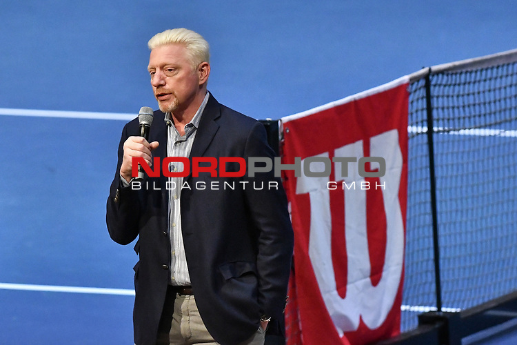 05.01.2018, Estrel Congress Center, Berlin, GER,  Internationaler DTB Tenniskongress 2019 <br /> <br /> im Bild Boris Becker erklaert seine Aufgabe im DTB<br /> <br /> Foto &copy; nordphoto/Mauelshagen