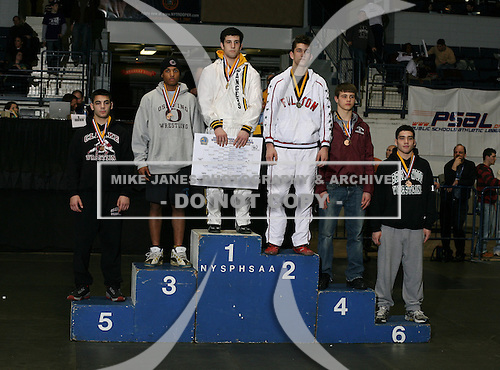 Bryan Borne (1st - Spencerport); Matt Bogardus (2nd - Fulton); James Burndage (3rd - Ossining); Alex Steciuk (4th - Ballston Spa); Jordan Spirou (5th - Clarke); Michael Hernandez (6th - Brentwood) pose on the podium for the Division One 160 weight class during the NY State Wrestling Championship finals at Blue Cross Arena on March 9, 2009 in Rochester, New York.  (Copyright Mike Janes Photography)