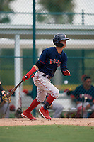 GCL Red Sox Bramdon Perez (10) bats during a Gulf Coast League game against the GCL Pirates on August 1, 2019 at Pirate City in Bradenton, Florida.  GCL Red Sox defeated the GCL Pirates 11-3.  (Mike Janes/Four Seam Images)