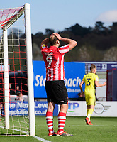 Lincoln City's Matt Rhead reacts during the second half<br /> <br /> Photographer Chris Vaughan/CameraSport<br /> <br /> The EFL Sky Bet League Two - Lincoln City v Cheltenham Town - Saturday 13th April 2019 - Sincil Bank - Lincoln<br /> <br /> World Copyright &copy; 2019 CameraSport. All rights reserved. 43 Linden Ave. Countesthorpe. Leicester. England. LE8 5PG - Tel: +44 (0) 116 277 4147 - admin@camerasport.com - www.camerasport.com