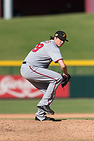 Salt River Rafters relief pitcher Jordan Mills (28), of the Washington Nationals organization, delivers a pitch during an Arizona Fall League game against the Mesa Solar Sox at Sloan Park on October 30, 2018 in Mesa, Arizona. Salt River defeated Mesa 14-4 . (Zachary Lucy/Four Seam Images)