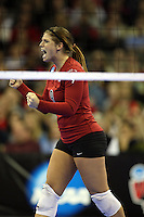 Omaha, NE - DECEMBER 20:  Libero Gabi Ailes #9 of the Stanford Cardinal during Stanford's 20-25, 24-26, 23-25 loss against the Penn State Nittany Lions in the 2008 NCAA Division I Women's Volleyball Final Four Championship match on December 20, 2008 at the Qwest Center in Omaha, Nebraska.