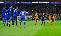 Ruben Neves of Wolverhampton Wanderers scores his side's first goal during the Sky Bet Championship match between Cardiff City and Wolverhampton Wanderers at the Cardiff City Stadium, Cardiff, Wales on 6 April 2018. Photo by Mark  Hawkins / PRiME Media Images.