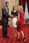 King Felipe VI of Spain and Queen Letizia of Spain attended an audience with Principe de Asturias Awards 2014 winners at the Reconquista Hotel on October 24, 2014 in Oviedo, Spain. (POOL/ALTERPHOTOS)