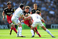Schalk Brits of Saracens takes on the Exeter Chiefs defence. Aviva Premiership Final, between Saracens and Exeter Chiefs on May 28, 2016 at Twickenham Stadium in London, England. Photo by: Patrick Khachfe / JMP