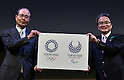 April 25, 2016, Tokyo, Japan - Logo Selection Committee Chairman Ryohei Miyata, right, and Japanese baseball great Sadaharu Oh display stark indigo-and-white checkered circles, designed by Asao Tokolo, which have officially become the emblems for the 2020 Tokyo Olympics and Paralympics on Monday, April 25, 2016, in Tokyo. The original emblems designed by   was scrapped amid accusations of plagiarism last year.  (Photo by Natsuki Sakai/AFLO) AYF -mis-