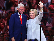 Brooklyn, NY - June 7, 2016: Democratic presidential candidate Hillary Clinton waves to supporters with Bill Clinton during a rally in Brooklyn, NY, June 7, 2016, after winning enough delegates to clinch her party's nomination.   (Photo by Don Baxter/Media Images International)