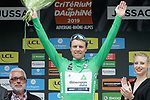 Edvald Boasson Hagen (NOR) Team Dimension Data wins Stage 1 and also wears the first points Green Jersey of the Criterium du Dauphine 2019, running 142km from Aurillac to Jussac, France. 9th June 2019<br /> Picture: Colin Flockton | Cyclefile<br /> All photos usage must carry mandatory copyright credit (© Cyclefile | Colin Flockton)