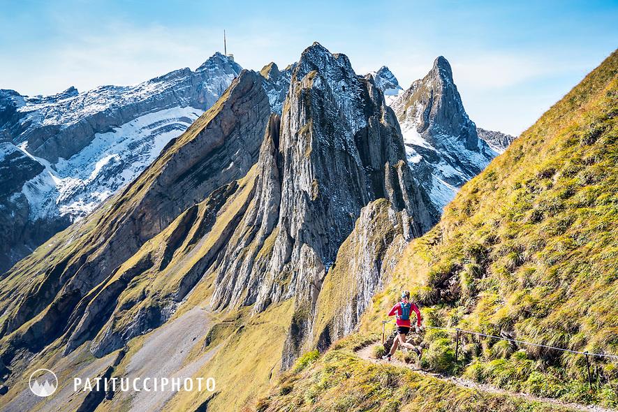 Singletrack trail running in the Alpstein region of eastern Switzerland
