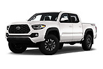 Stock pictures of low aggressive front three quarter view of 2020 Toyota Tacoma TRD-Off-Road 4 Door Pick-up Low Aggressive
