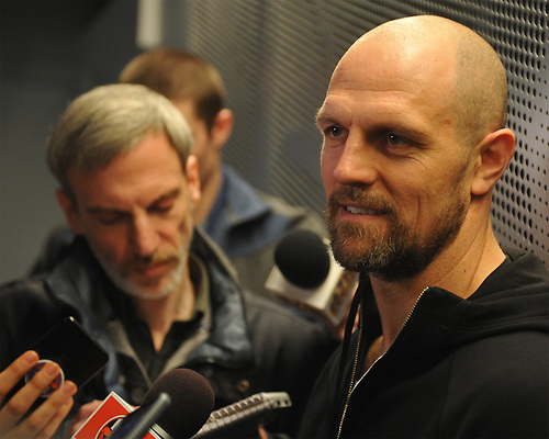 Dennis Seidenberg speaks with the media after New York Islanders player exit interviews at Northwell Health Ice Center in East Meadow on Sunday, April 8, 2018.