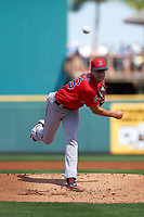 Boston Red Sox starting pitcher Joe Kelly (56) delivers a pitch during a Spring Training game against the Pittsburgh Pirates on March 9, 2016 at McKechnie Field in Bradenton, Florida.  Boston defeated Pittsburgh 6-2.  (Mike Janes/Four Seam Images)