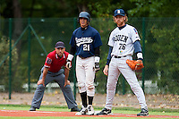 03 october 2009: Yann Dal Zotto of Savigny is seen at first base next to Nicolas Dubaut of Rouen during game 1 of the 2009 French Elite Finals won 6-5 by Rouen over Savigny in the 11th inning, at Stade Pierre Rolland stadium in Rouen, France.