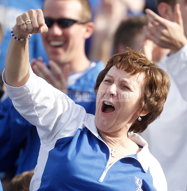 UK fan during the first half of the University of Kentucky football game against Tennessee at Commonwealth Stadium in Lexington, Ky., on 11/26/11. Uk led the game at half 3-0. Photo by Mike Weaver | Staff