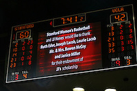 STANFORD, CA - FEBRUARY 4:  The scoreboard acknowledging Ruth Eder, Joe Lacob, Laurie Lacob, Mr. and Mrs. Bowen McCoy, and Janice Miller the scholarship donors of JJ Hones of the Stanford Cardinal during Stanford's 74-53 win over UCLA on February 4, 2010 at Maples Pavilion in Stanford, California.