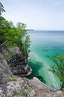 Pictured Rocks shoreline and the aqua-colored water of Lake Superior. Munising, MI