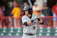 Akron RubberDucks Connor Marabell (16) at bat during an Eastern League game against the Erie SeaWolves on June 2, 2019 at UPMC Park in Erie, Pennsylvania.  Akron defeated Erie 7-2 in the first game of a doubleheader.  (Mike Janes/Four Seam Images)