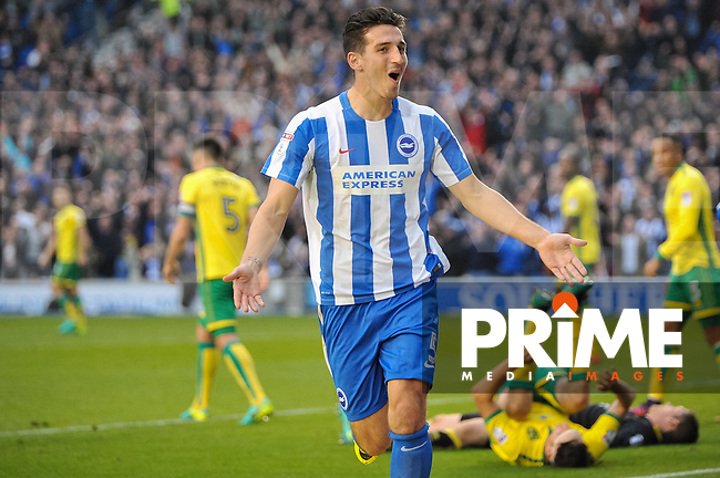 Lewis Dunk of Brighton and Hove Albion (5) celebrates scoring his sides 3rd goal of the 5 - 0 win during the Sky Bet Championship match between Brighton and Hove Albion and Norwich City at the American Express Community Stadium, Brighton and Hove, England on 29 October 2016. Photo by Edward Thomas.