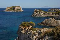 Isola di Pianosa. Pianosa Island. L' isolotto della Scola.La costa.