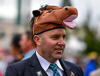 LOUISVILLE, KY - MAY 06: A man wears a horse hat on Kentucky Derby Day at Churchill Downs on May 6, 2017 in Louisville, Kentucky. (Photo by Scott Serio/Eclipse Sportswire/Getty Images)