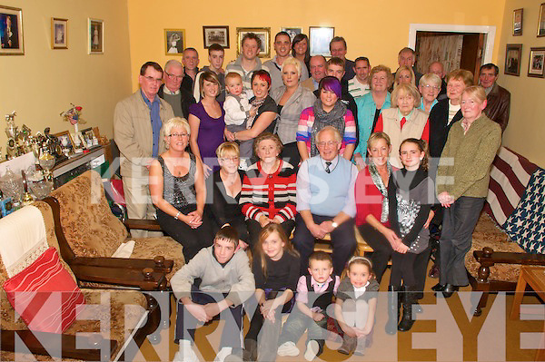 Wedding Anniversary: Maura & Tom  O'Connor, seated centre, Clogher, Lixnaw, celebrating their 50th wedding anniversary with their family & friends at their home on Saturday night last.