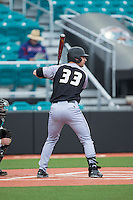 Jordan Mountford (33) of the Bryant Bulldogs at bat against the Coastal Carolina Chanticleers at Springs Brooks Stadium on March 13, 2015 in Charlotte, North Carolina.  The Chanticleers defeated the Bulldogs 7-2.  (Brian Westerholt/Four Seam Images)