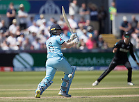 Eoin Morgan (England) squeezes the ball to leg  during England vs New Zealand, ICC World Cup Cricket at The Riverside Ground on 3rd July 2019