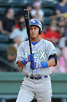 Third baseman Mauricio Ramos (3) of the Lexington Legends bats in a game against the Greenville Drive on Sunday, August 31, 2014, at Fluor Field at the West End in Greenville, South Carolina. Greenville won, 3-2. (Tom Priddy/Four Seam Images)