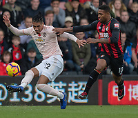 Manchester United's Chris Smalling (left) under pressure from Bournemouth's Jordon Ibe (right) <br /> <br /> Photographer David Horton/CameraSport<br /> <br /> The Premier League - Bournemouth v Manchester United - Saturday 3rd November 2018 - Vitality Stadium - Bournemouth<br /> <br /> World Copyright &copy; 2018 CameraSport. All rights reserved. 43 Linden Ave. Countesthorpe. Leicester. England. LE8 5PG - Tel: +44 (0) 116 277 4147 - admin@camerasport.com - www.camerasport.com