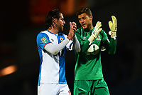 Blackburn Rovers' Jayson Leutwiler speaks with team-mate Danny Graham at the end of the match<br /> <br /> Photographer Richard Martin-Roberts/CameraSport<br /> <br /> The Carabao Cup First Round - Tuesday 13th August 2019 - Blackburn Rovers v Oldham Athletic - Ewood Park - Blackburn<br />  <br /> World Copyright © 2019 CameraSport. All rights reserved. 43 Linden Ave. Countesthorpe. Leicester. England. LE8 5PG - Tel: +44 (0) 116 277 4147 - admin@camerasport.com - www.camerasport.com