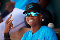 Miami Marlins Yoelvis Sanchez (87) in the dugout during an Instructional League game against the Washington Nationals on September 25, 2019 at Roger Dean Chevrolet Stadium in Jupiter, Florida.  (Mike Janes/Four Seam Images)