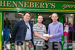 Top of the League Joe O'Mahony wins the Kerry's Eye and Hennebery sports Fantasy Football competition. Pictured Sylvester Hennessy, Kerrys eye Sport, winner Joe O'Mahony and Brian Hennebery, Hennebery sports