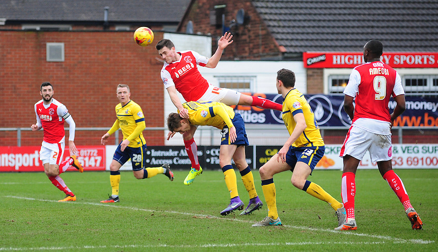 Fleetwood Town's Bobby Grant scores his sides second goal <br /> <br /> Photographer Chris Vaughan/CameraSport<br /> <br /> Football - The Football League Sky Bet League One - Fleetwood Town v Scunthorpe United  - Saturday 20th February 2016 - Highbury Stadium - Fleetwood    <br /> <br /> &copy; CameraSport - 43 Linden Ave. Countesthorpe. Leicester. England. LE8 5PG - Tel: +44 (0) 116 277 4147 - admin@camerasport.com - www.camerasport.com