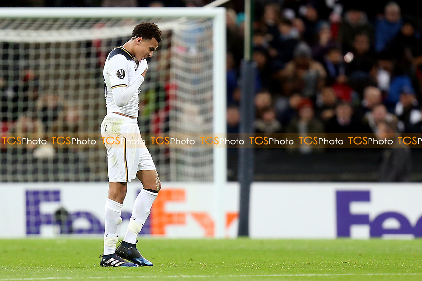 Dele Alli of Tottenham Hotspur leaves the pitch after being shown a red card  during Tottenham Hotspur vs KAA Gent, UEFA Europa League Football at Wembley Stadium on 23rd February 2017