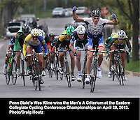 Penn State's Wes Kline wins the Men's A Criterium at the Eastern Collegiate Cycling Conference Championships on April 28, 2013. Photo/Craig Houtz