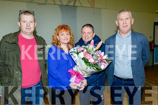 St Brendans hurling club, Ardfert, held their annual medal presentation night last Saturday in the Community centre and well known former player from Co Clare and now manager of Wexford hurling, Davy Fitzgerald was the guest speaker, L-R Frank O'Connor, club chairman, Caroline McCarthy, club secretary, receiving a bunch of flowers from the club in appreciation for her dedicated work, Davy Fitzgerald and Liam O'Connor.