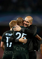 Football Soccer: UEFA Champions League Napoli vs Mabchester City San Paolo stadium Naples, Italy, November 1, 2017. <br /> Manchester City's coach Josep Guardiola (r) and captain Fernandinho (l) celebrates after winning 4-2 the Uefa Champions League football soccer match between Napoli and Manchester City at San Paolo stadium, November 1, 2017.<br /> UPDATE IMAGES PRESS/Isabella Bonotto