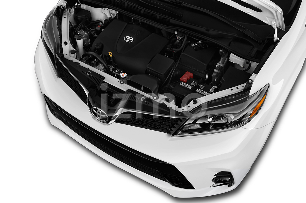 Car stock 2020 Toyota Sienna SE 5 Door Mini Van engine high angle detail view