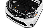 Car stock 2018 Toyota Sienna SE 5 Door Mini Van engine high angle detail view