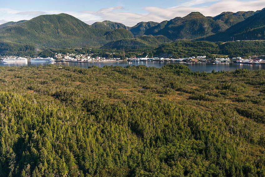Ketchikan Alaska. Harbour and cruise ships.