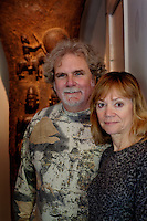 Los Angeles, California, November 14, 2009 - Portrait of Ernie and Diane Wolfe in front of a Toguna sculpture from Mali in the hallway of their home. The Wolfe's own the Ernie Wolfe Gallery and are the most reknowned African at dealers in the country. ..CREDIT: Daryl Peveto/LUCEO for The Wall Street Journal.Homefront - Ernie Wolfe #1348.