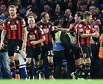 Bournemouth's Glenn Murray (centre) celebrates scoring his sides opening goal<br /> <br /> Barclays Premier League - Chelsea v AFC Bournemouth - Stamford Bridge - England - 5th December 2015 - Picture David Klein/Sportimage