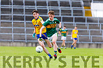 Ruaidhrí Ó Beaglaoích Kerry in action against Dylan Gaughan Roscommon in the Kerry v Roscommon All Ireland Minor Quarter Final at the Gaelic Grounds in Limerick on Saturday.