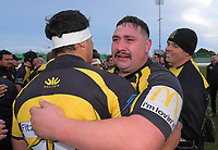 Feilding Yellows players celebrate winning the 2019 Manawatu premier club rugby Hankins Shield final match between Varsity and Feilding Yellows at CET Arena in Palmerston North, New Zealand on Saturday, 13 July 2019. Photo: Dave Lintott / lintottphoto.co.nz