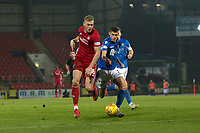 24th November 2019; McDairmid Park, Perth, Perth and Kinross, Scotland; Scottish Premiership Football, St Johnstone versus Aberdeen; Sam Cosgrove of Aberdeen goes past Wallace Duffy of St Johnstone  - Editorial Use