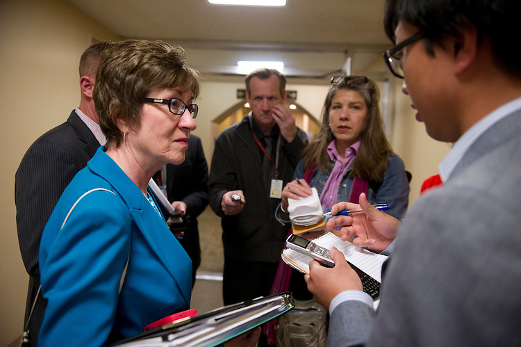 UNITED STATES - May 14: Sen. Susan Collins, R-ME., talks to reporters about the Justice Department secretly seizing AP reporters' phone records outside of the weekly Senate luncheon's on May 14, 2013.  (Photo By Douglas Graham/CQ Roll Call)
