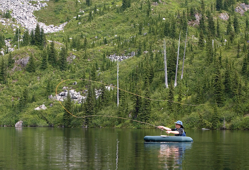 Photo by Stephen Brashear.Brian Curtis of Silverdale Wash., a member of the Trailblazers, casts his line while fishing Monogram Lake in the North Cascades National Park near Marblemount, Wash., Tuesday Aug. 12, 2008. The Trailblazers is a club of high lakes anglers that helps the U.S. Forest Service stock high mountain lakes.
