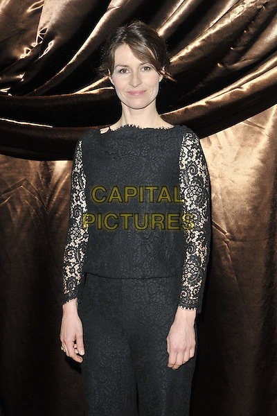 Helen Baxendale .The Galaxy National Book Awards 2011, Mandarin Oriental Hyde Park hotel, Knightsbridge, London, England..November 5th, 2011.half length black top lace trousers .CAP/CAN.©Can Nguyen/Capital Pictures.