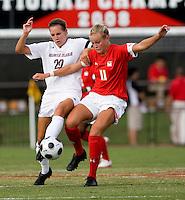 Santa Clara defender (20) Katherine Reynolds fights for possession with Maryland midfielder (11) Olivia Wagner.  Maryland defeated Santa Clara, 1-0, at Ludwig Field in College Park Maryland.